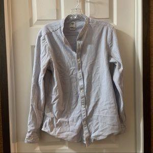Zara Blue Stripe Slim Fit Button Up Knit Shirt M